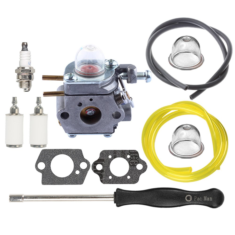 HIPA WT973 Carburetor with Fuel Line Fuel Filter Spark Plug for Bolens BL110 BL160 BL425 Cub Cadet BC210 BC280 CC212 CS202 SS270 String Trimmer Brushcutter