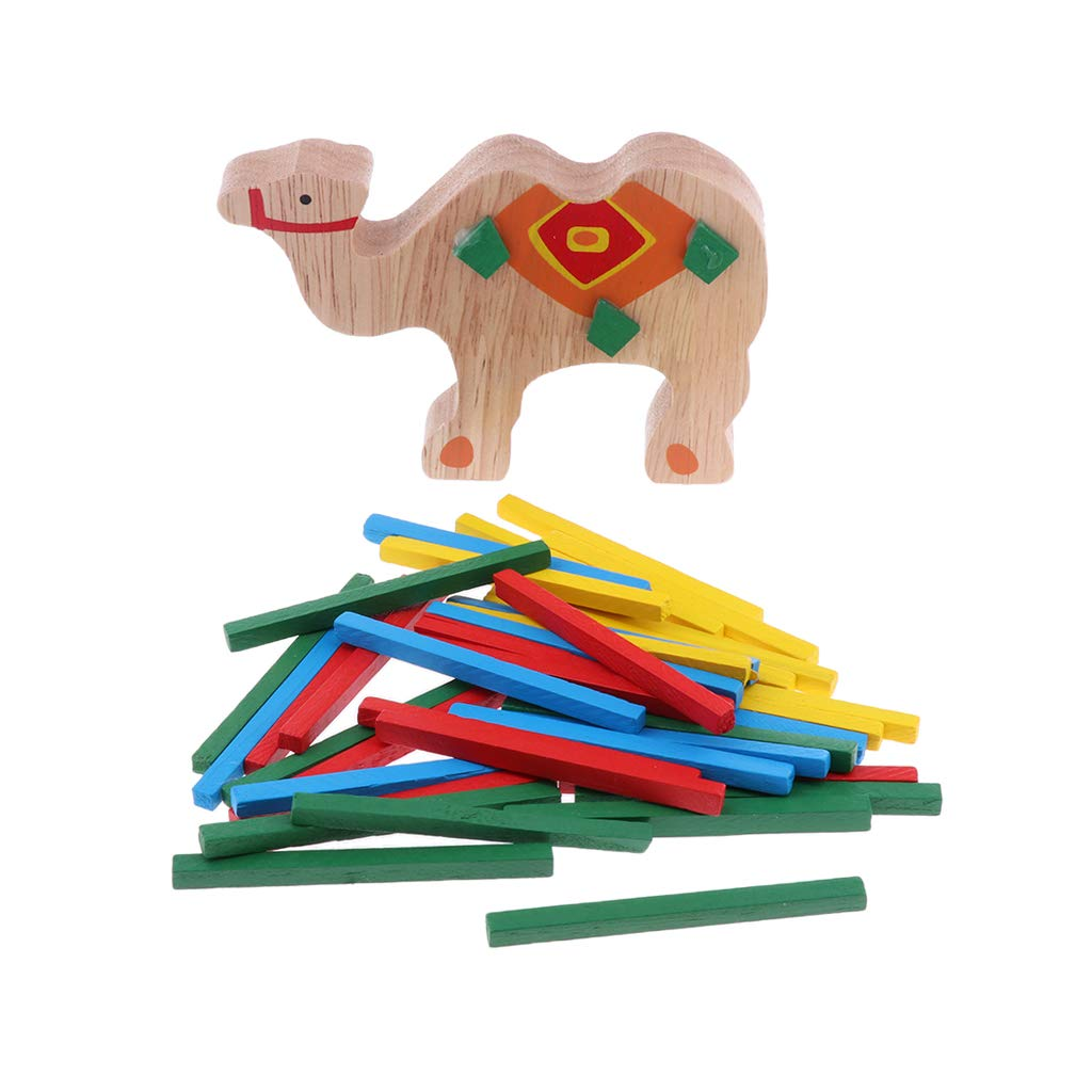 FLAMEER Stack the Sticks ,Wooden Puzzle Stacking Building Blocks Balance Board Table Game Camel