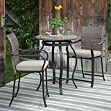 3 Piece Outdoor Bistro Set Bar Height with Umbrella Hole in Dark Bronze Finish