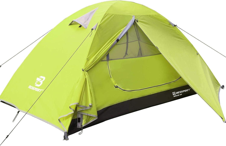 Bessport Tienda de Campaña con Dos Puertas A Prueba de UV/Viento Fuerte/Lluvia para Trekking, Campamento, Playa, Aventura, etc