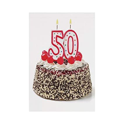 Jiuyuan 50th Birthday DecorationsCream Cake With Cherries Burning Candles Chocolaty Yummy DesertMulticolor