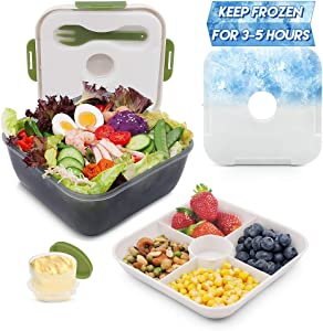 Rassody 74 OZ Salad Container To Go for Lunch with Ice Pack, Dressing Cup and 4 Compartments for Salads Toppings, Snacks, Fruits, Built-In Fork, Large Mixing Bowl, Leak-Proof, Reusable and BPA-Free