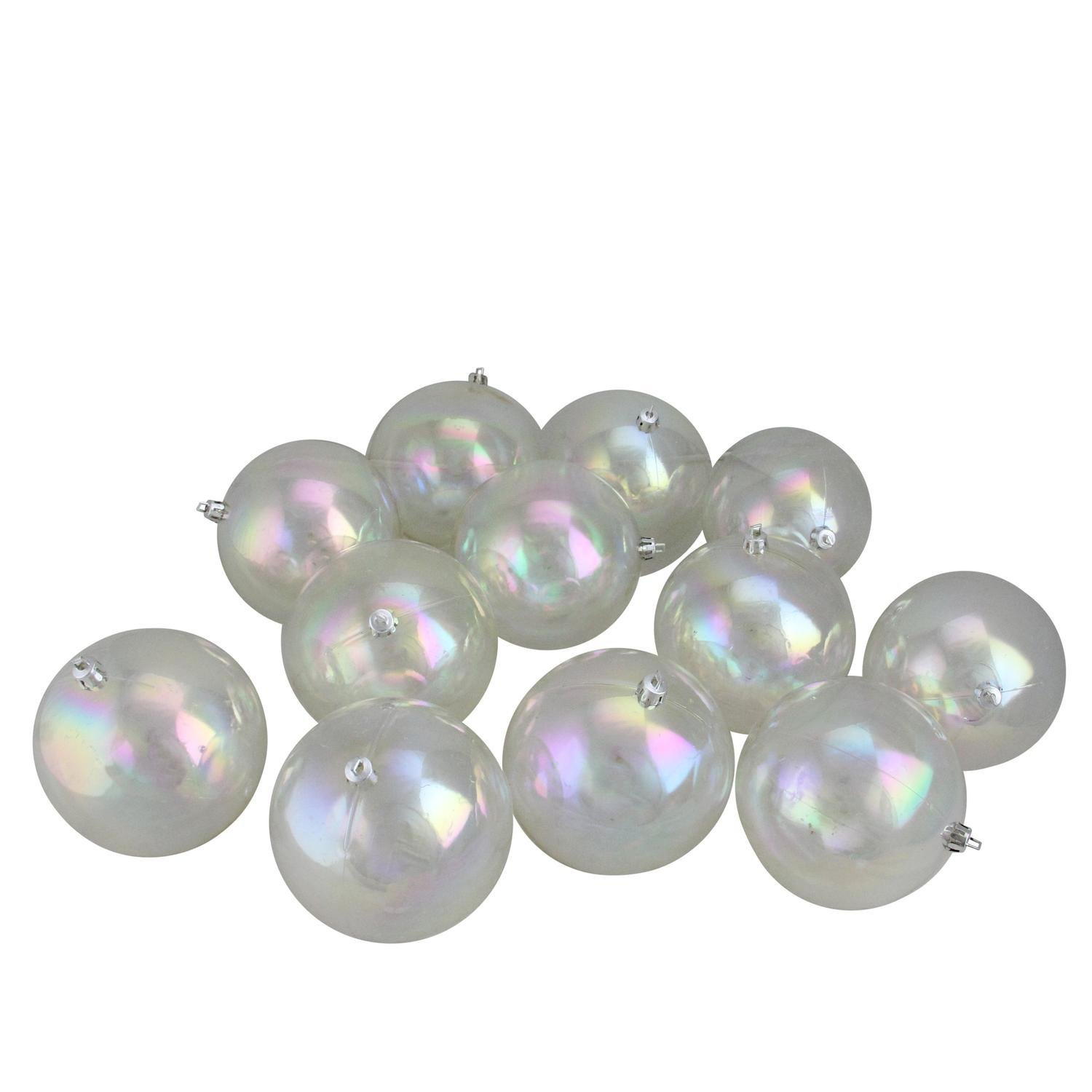 Northlight 12 Count Shatterproof Clear Iridescent Christmas Ball Ornaments, 4''