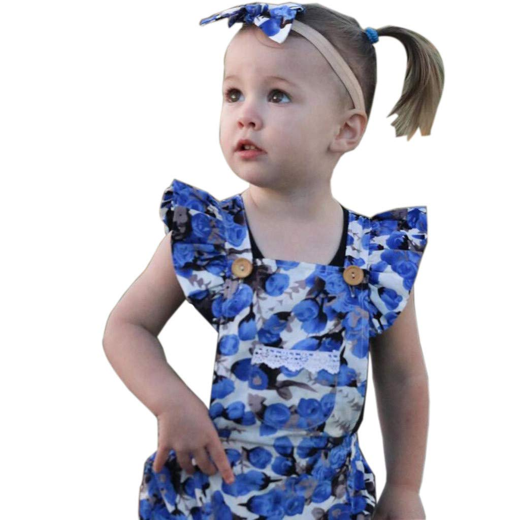 NUWFOR Newborn Infant Baby Girls Floral Print Romper Jumpsuit+Headband Outfits Clothes (Blue,0-6Months)
