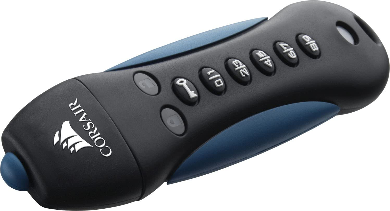 Corsair Flash Padlock 3 16gb Secure Verschlüsselter Usb Flash Laufwerk Usb 3 0 Schwarz Blau