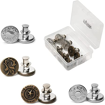Fifille Arts & Crafts Metal Button Set – Steel and Bronze, 8 Pin Buttons with Plastic Sewing Storage Box, Snap on Buttons, Adjustable Metal Button, Pin Button for Crafting, Steel & Bronze (Type 2)