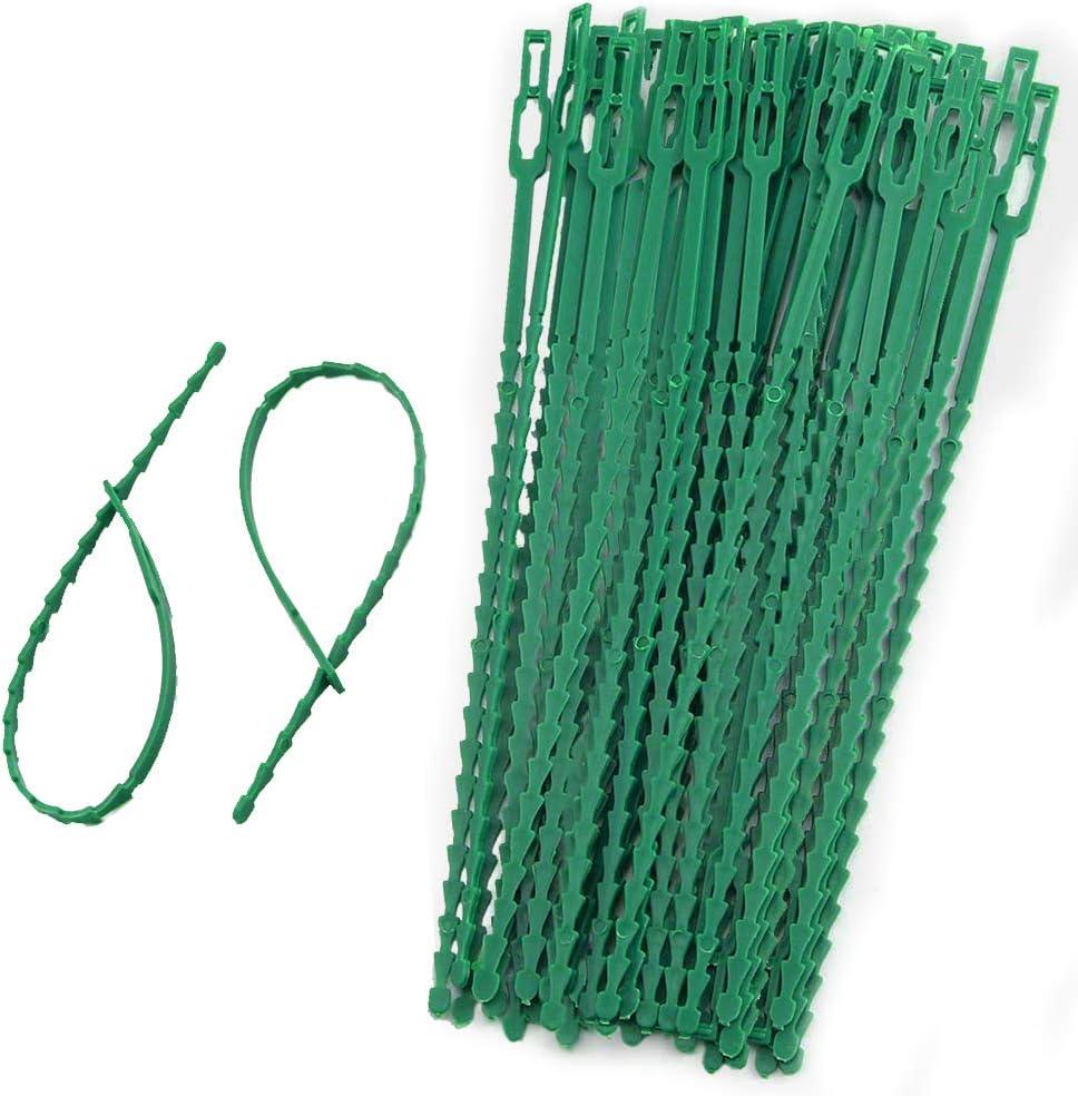 IPOUF 100 Pcs Adjustable Garden Plant Ties,Plastic Gardening Plant Twist Ties for Secure Vines,9 Inch