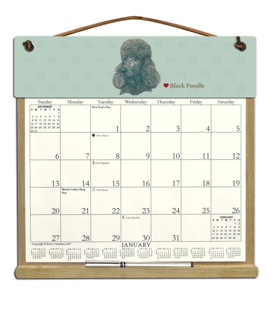 Wooden Refillable Dog Calendar Holder filled with 2018, 2019 and an order form for 2020-BLACK POODLE