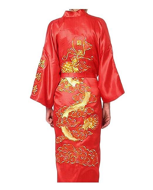 Mens Robe Chinese Dragon Pattern Kimono Bathrobe with Waistband at Amazon Mens Clothing store: