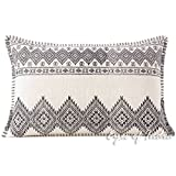 Eyes of India - 16 X 24 White Black Dhurrie Printed Pillow Cover Lumbar Long Bolster Sofa Colorful Cushion Decorative Throw Couch Boho Seating Bohemian IndianCover Only