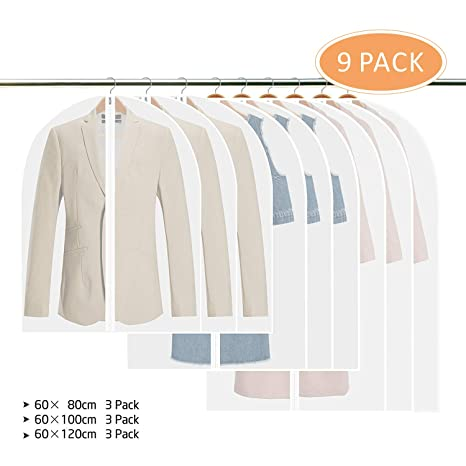 b4e41da9ba02 Garment Covers, Tintec Pack of 9 Breathable Clothes Covers Transparent Suit  Bag Dustproof Cloths Storage Damp-proof Shirt Carrier with full Zipper and  ...