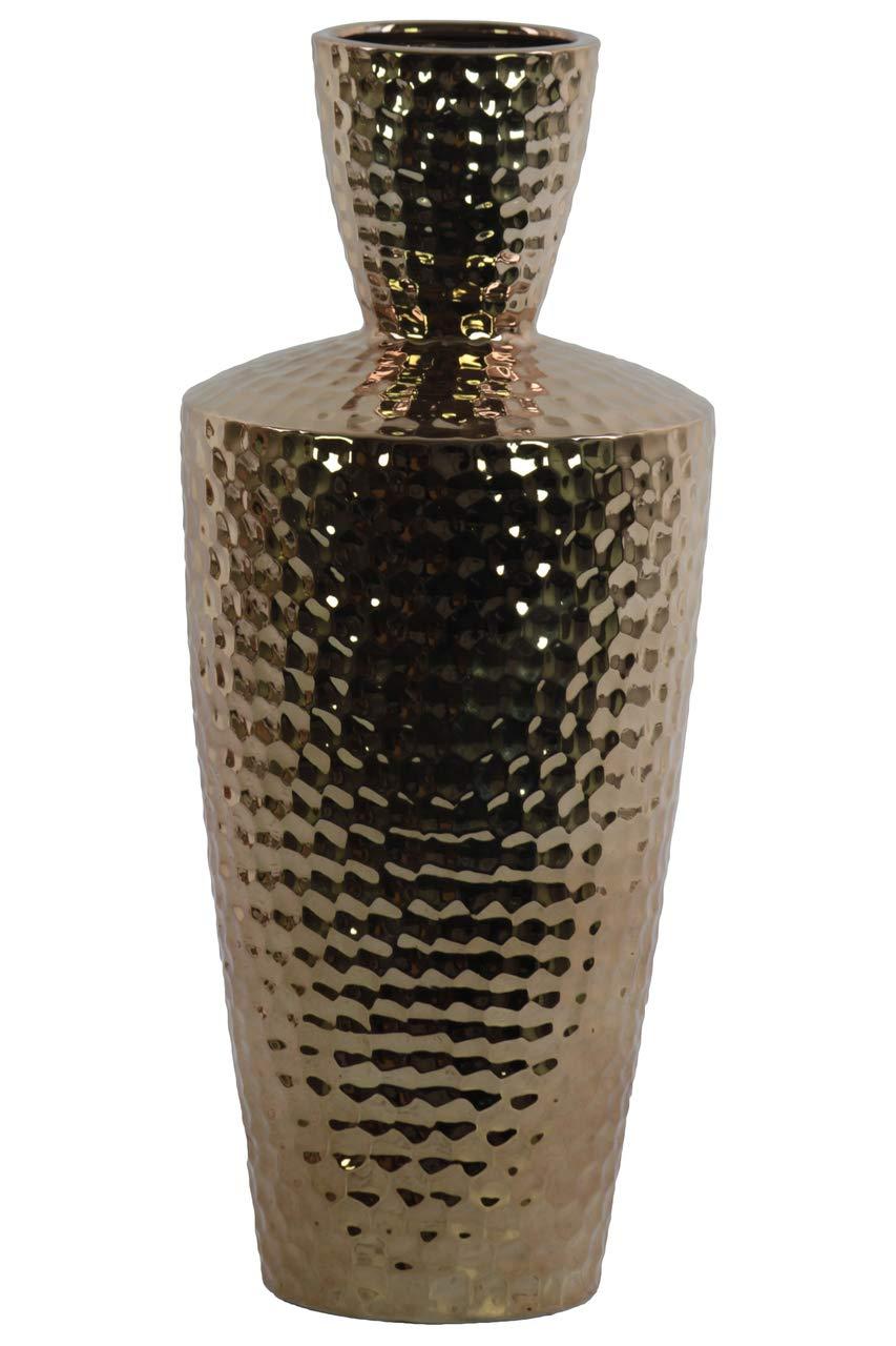 Benzara BM182064 Ceramic Round Vase with Trumpet Neck Gold