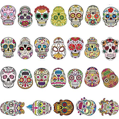 Sugar Skull Stickers Dia de Los Muertos Mexican Day of The Dead Sticker Laptop Skull Decals Dia de Personalize Skateboard,Snowboard,Car,Helmet,Luggage,Bikes -