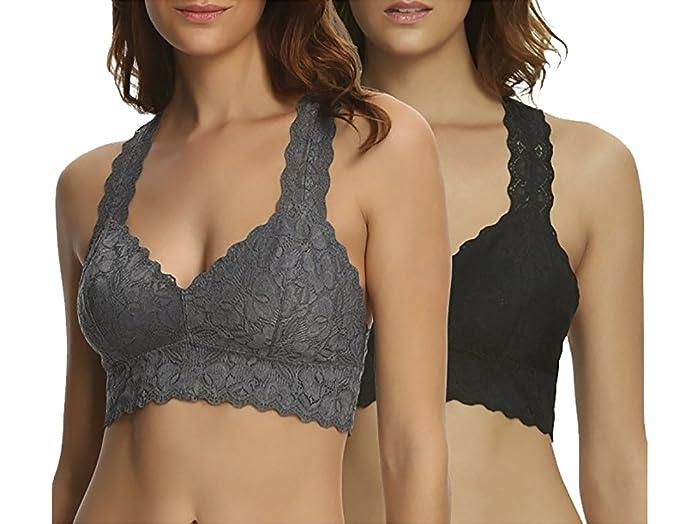7f143a1c74 Felina Women s 2-Pack Lace Bralette. (Grey Black