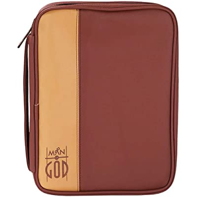 best Mocha and Carmel 8.5 x 11 inch Leather Like Vinyl Bible Cover Case with Handle Large