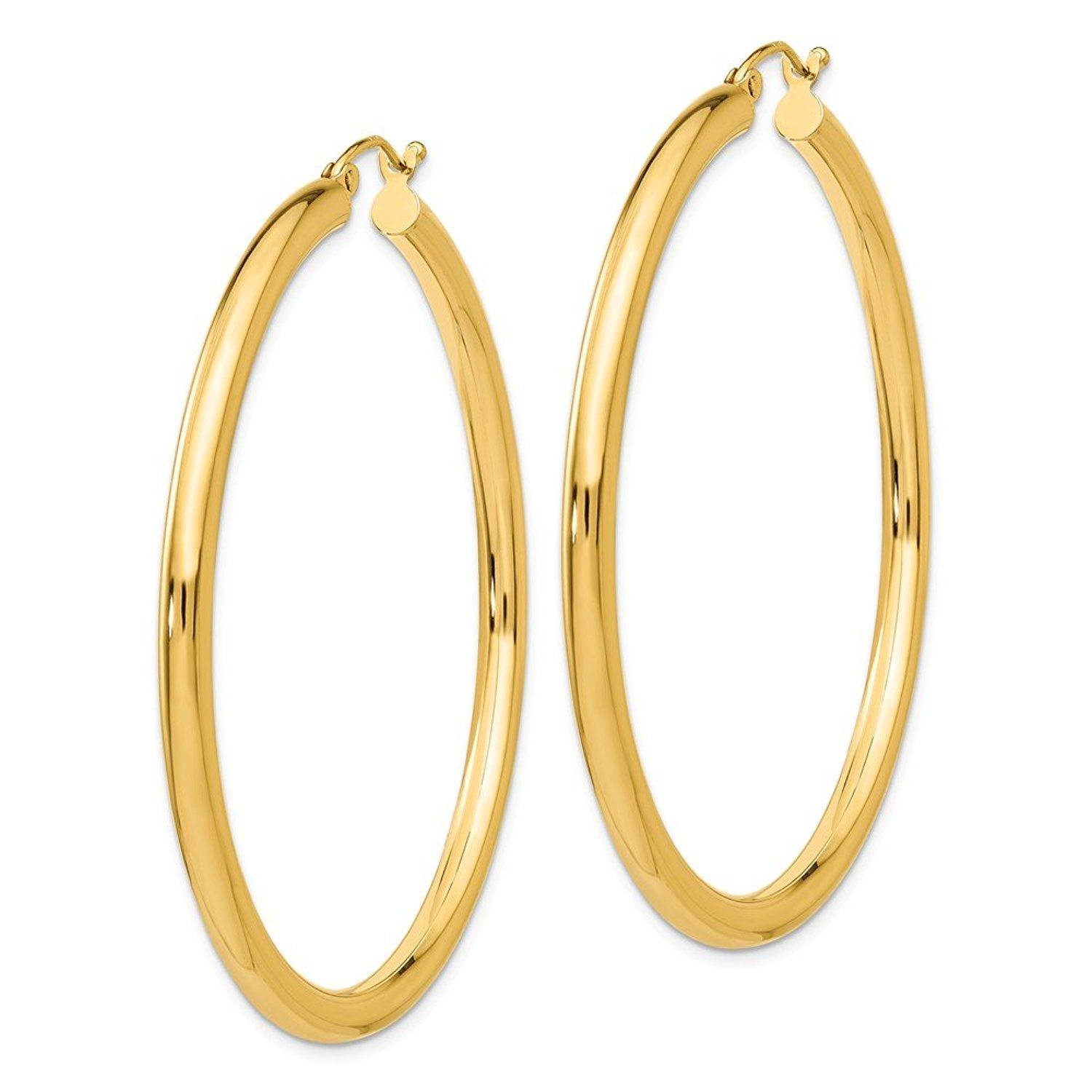 MCS Jewelry 14 Karat Yellow Gold Round Hoop Earrings 3mm Thickness (Available in 5 Different Sizes) (50 mm Diameter)
