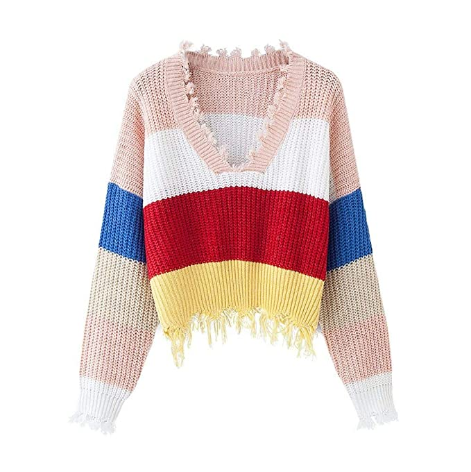 4ca9c9533 Amazon.com  KaiCran Womens V-Neck Rainbow Sweater Long Sleeve Knitted  Stripe Sexy Loose Jumper Pullovers Tops - Free Size (Multicolor