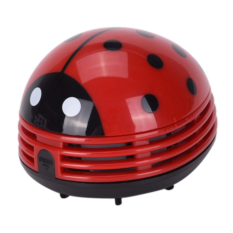 Ouinne Mini Aspirateur Table en Forme de Coccinelle Rouge