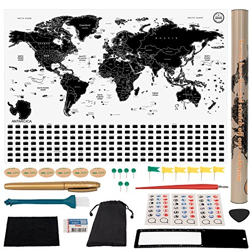 (Simar Best Trading Scratch Off World Map - Original Travel Poster Print - Black and White World Map with Hidden Iconic Landmarks of The World - Deluxe Tube Design/All Accessories Included)