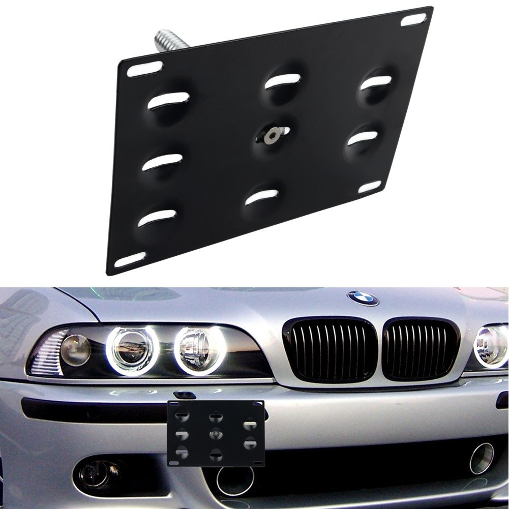 Dewhel Extender Bracket Narrow JDM Aluminum For Front Bumper Tow Hook License Plate With Parking Sensor