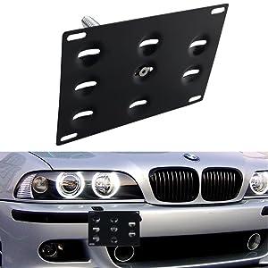 DEWHEL Front Bumper Tow Hook License Plate Mount Bracket Holder Bolt On for BMW E82 E88 E90 E91 E92 E93 E70 E71 128i 135i 1M 325i 328i 330i 335i M3 X5 X6