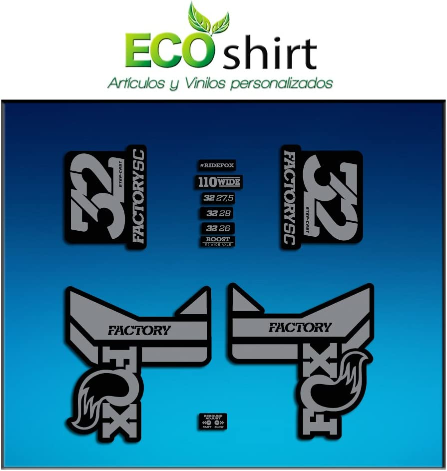 Grey Ecoshirt WA-ZIJ7-7874 Stickers Fork Fox 32 Factory SC Float 2017 Am87 Aufkleber Decals Autocollants Adesivi Forcela Gabel Fourche