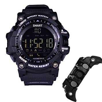 imusk EX16 reloj inteligente hombres reloj deportivo 5 ATM impermeable Bluetooth 4.0 SmartWatch podómetro llamada recordatorio de cronómetro, color negro: ...