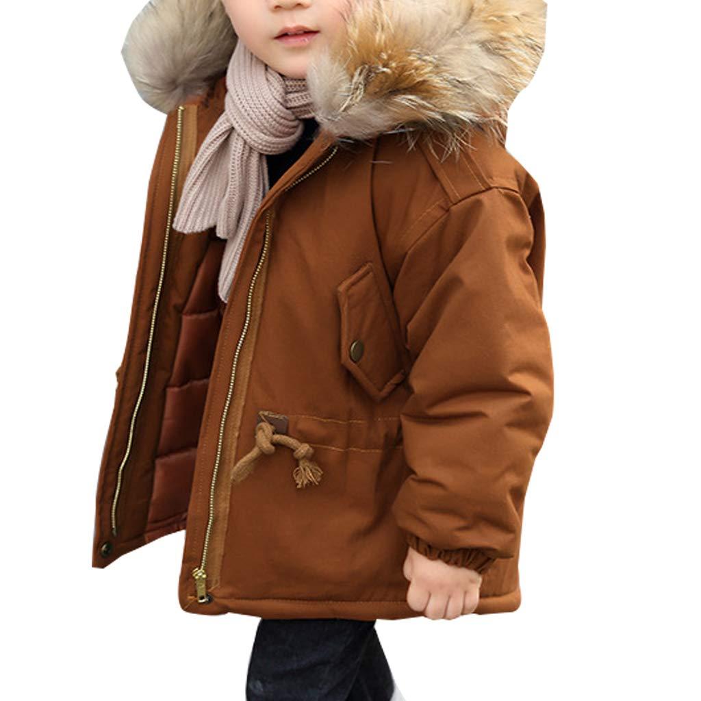 MissChild Children Boys Quilted Coat Jacket Faux Fur Hood Autumn Winter Fashion Outerwear Warm Clothes