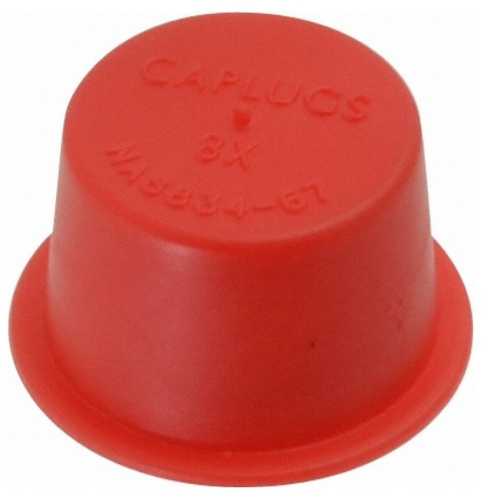 3/8 NPT ID Press Fit Cap, Polyethylene, Red 100 Pack