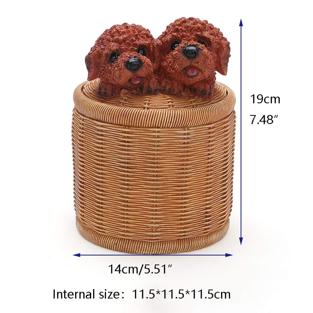 Cute Teddy Dog Tissue Box Cover Household Rectangular Cylinder Resin Carved Napkin Case Cartoon Toilet Paper Roll Holder -Home Hotel Office Shop Decoration (Shape : Cylinder) by Slivy