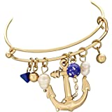 Rosemarie Collections Women's Anchors Away Nautical Charm Bracelet