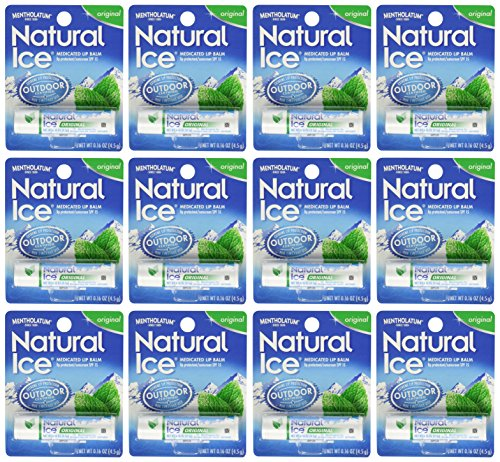 Mentholatum Natural Ice Medicated Lip Protectant Sunscreen, 12 Count (The Best Natural Lip Balm)