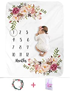 XMWEALTHY Baby Monthly Milestone Blankets Soft Floral Memory Blankets Girls Boys Cute Photo Background Blankets White