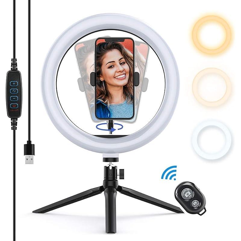 """Yoozon Luz de Anillo LED 10"""" fotográfica de Escritorio, 3 Colores 10 Brillos Regulables Control Remoto Bluetooth, Trípode con Soporte Giratorio de teléfono para Selfie, Maquillaje, Youtube, TIK Tok"""