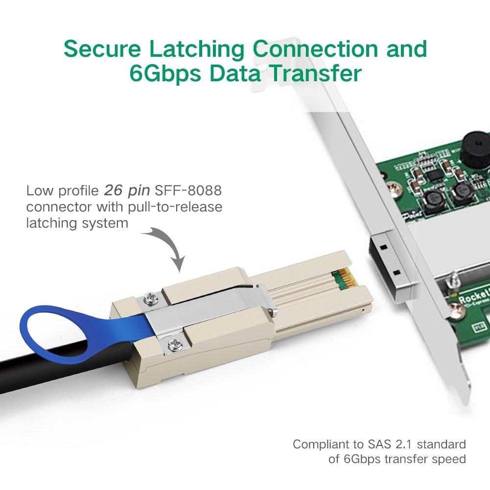 MultiLane-x4 FanOut UGREEN Mini sas 26P SFF-8088 TO 4x SATA 7Pin Mini-SAS 26P TO 4SATA cable with latch 1m SFF8088 to 4x SATA