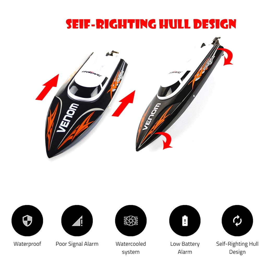 ✈Shipping from The United States✈RC Boat RC Boats for Adults RC Racing Boat High Speed Radio Electronic Remote Control Boat For Kids Black Pools and Lakes Boat Pool Alarm Toy Boat Drone (Black) by DICPOLIA (Image #4)