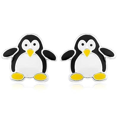 Ornami Sterling Silver and Enamel Penguin Earrings 6Mj3WX