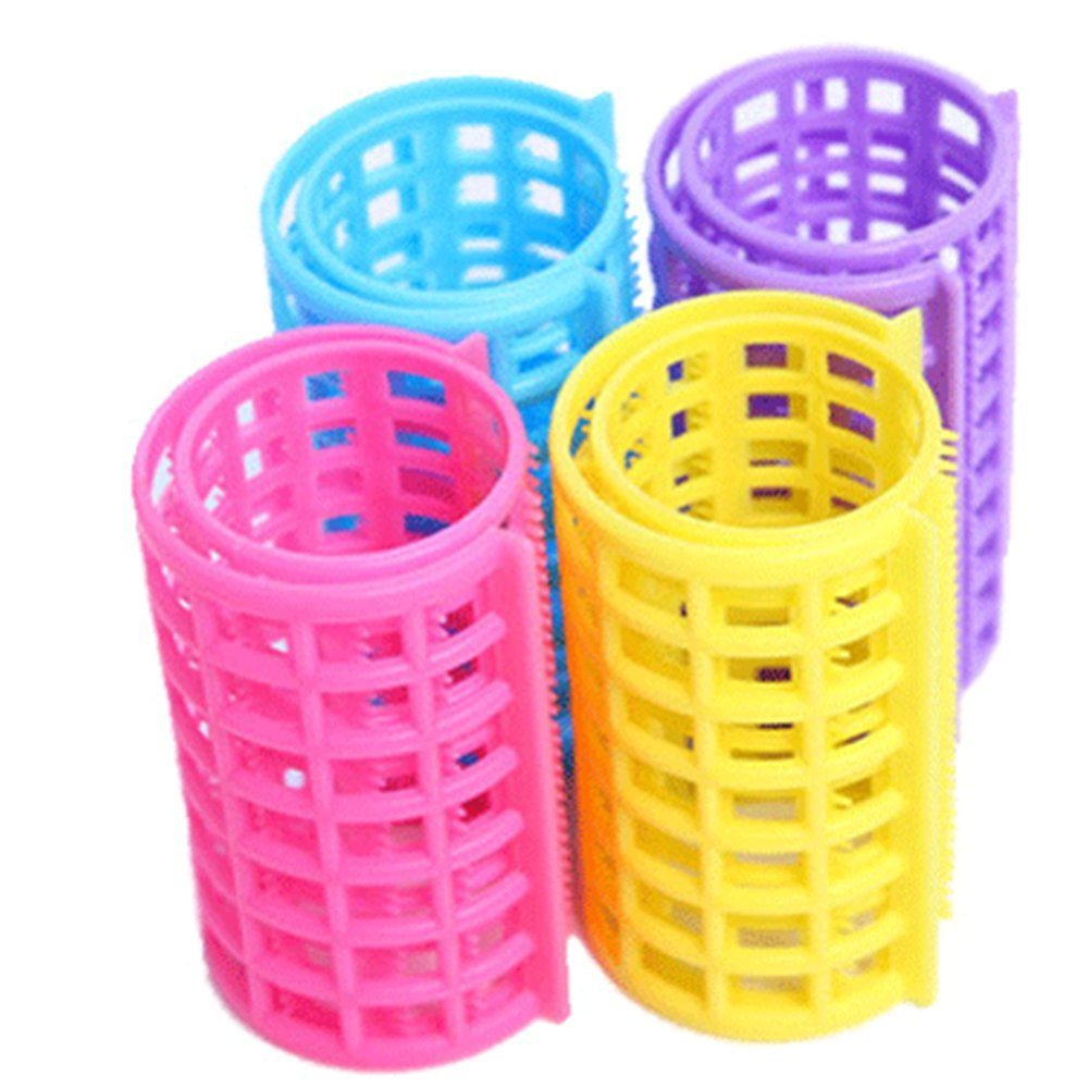 KAKA(TM Ladies Girl 6 Pcs Plastic DIY Hair Styling Roller Curlers Clips Hair Care Roller Style Curlers,Assorted Colors Color random delivery Diameter:1.4 inch Extra Large Size