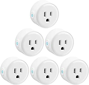 LITEdge Smart Plug Work with Alexa, Mini Smart Outlet Wifi Plug Google Home Assistant for Voice Control, No Hub Required, Only Supports 2.4GHz Network, Timer Function, ETL Listed, Pack of 6