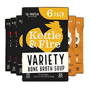 Kettle and Fire Mushroom Chicken, Beef, and Chicken Bone Broth Variety Pack, Keto, Paleo, and Whole 30 Approved, Gluten Free, High in Protein and Collagen, 6 Pack