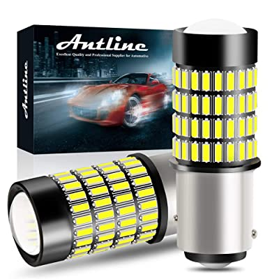 1157 LED Bulbs, ANTLINE 1400 Lumens Super Bright 4014 102-SMD 2057 2357 7528 2057A LED Bulbs with Projector for Backup Reverse Lights Tail Brake Turn Signal DRL Parking Lights, Xenon White(Pack of 2): Automotive