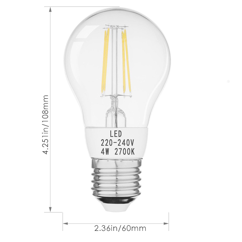 Crzdeal E27 Led Lampe 4w Ersetzt 40w Fadenlampe Glhlampe Diagram Of Incandescent Light Bulb Glhfaden Cob Birne Warmwei Leuchtmittel 300 Abstrahlwinkel Tropfenform