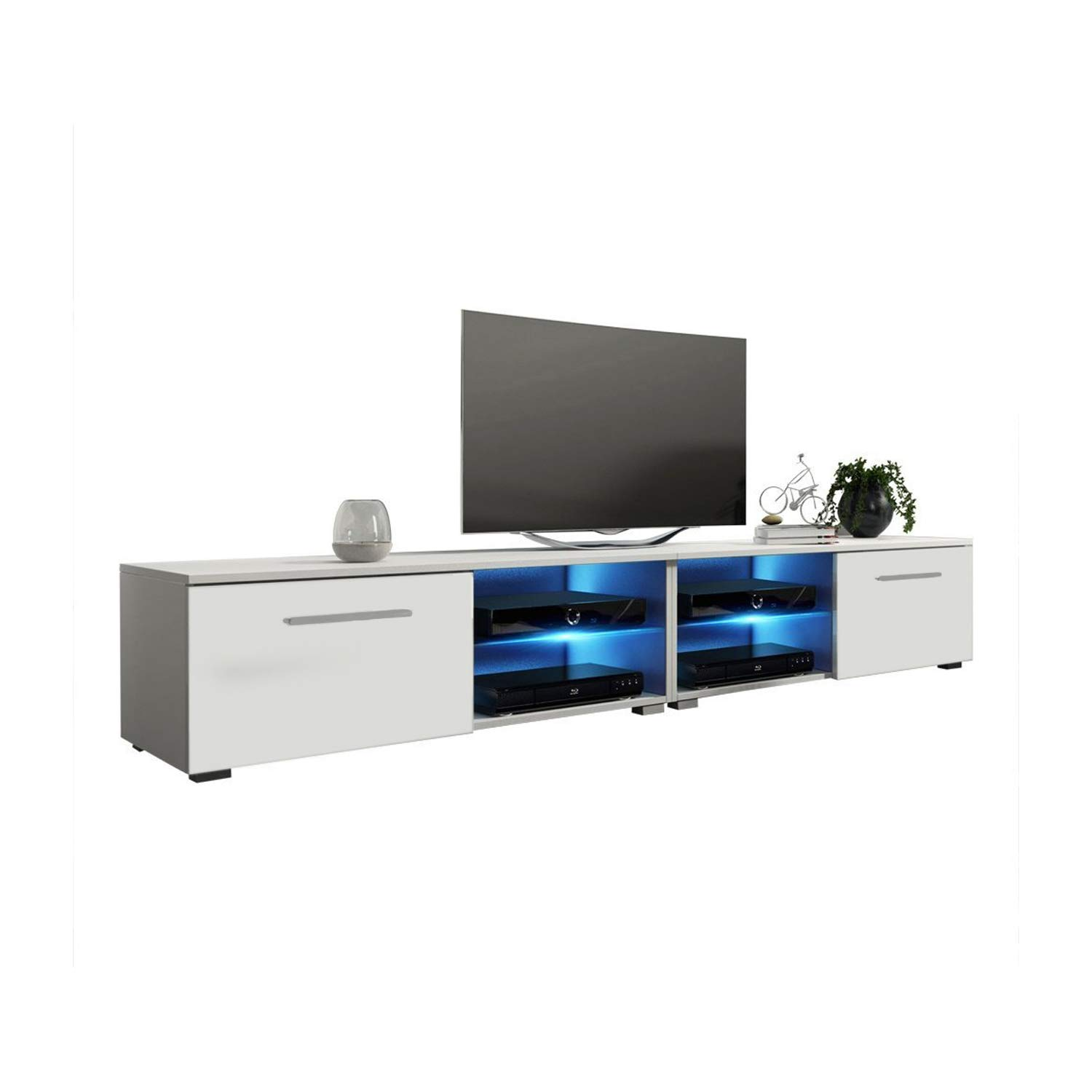 MEBLE FURNITURE & RUGS New Moon Modern TV Stand Matte Body High Gloss Doors with 16 Color LED (White, 81'') by MEBLE FURNITURE & RUGS