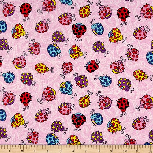 CAMELOT Fabrics Printed Flannel Lady Bugs Pink