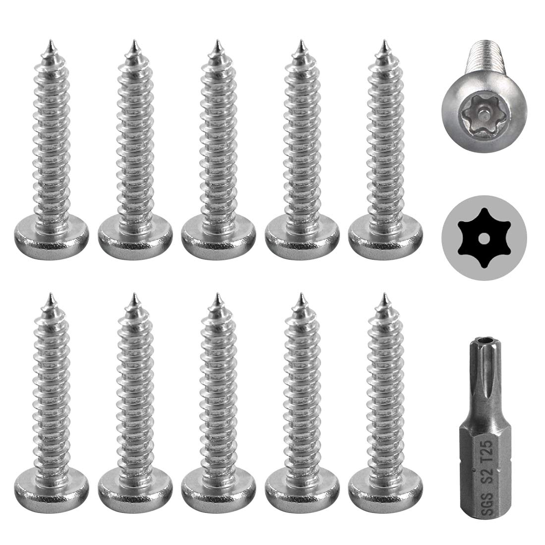 """Hilitchi 50 Pcs #10 x 5//8/"""" Stainless Steel Button Head Torx Sheet Metal Screws Security Silver Screws Anti-Theft Tamper Proof with Bit T25"""