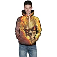 Oversized 3D Skull Zip Hoodie Mens 3XL 4XL 5XL Full Longline Pullover Top Hoody Up 2XL Goth Personalised Cool Warm Man