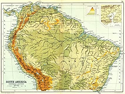 Amazon.com: SOUTH AMERICA NORTHERN: Physical map; Inset map of Rio ...