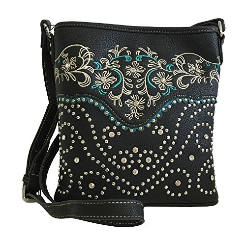- Montana West Concealed Gun Messenger Purse Cross Body Flowers Embroidery Black
