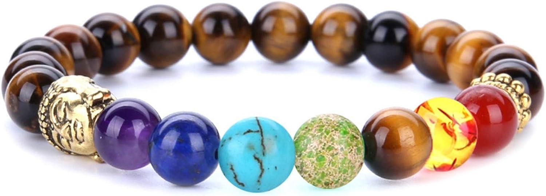 AnazoZ Pulsera Hombre Ancha 8 MM Pulseras de Piedras Naturales 7 Chacras Pulsera Cuentas Colores con Cabeza de Buda