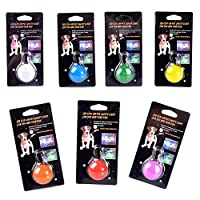 Waterproof Clip-on Dog & Cat Collar LED Lights, IN HAND Safety Weather Resistant Light up Dog Collar with 3 Flashing Modes, Designed for Night Walking, Battery Included (Pack of 7)